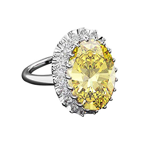 Gnzoe S925 Silver Ring for Women Oval Cut Yellow Cubic Zirconia Engagement Ring Yellow Size R 1/2