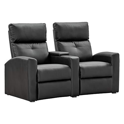 2er Kinosessel BEAM - Zweisitzer Doppelsitzer Cinema Relaxsessel TV-Sessel mit Getränkehalter verstellbarer Fernsehsessel mit Liege-/ Relaxfunktion, Taschenkernfederung schwarz dick gepolstert