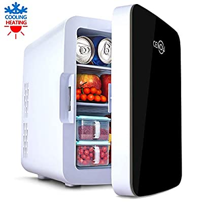Mini Fridge with Cooler and Warmer, 10 Liter Large Capacity Portable Compact Fridge, Mini Refrigerator with AC/DC Dual Power Mode for Home Car Office Dormitory (Black, 10L)