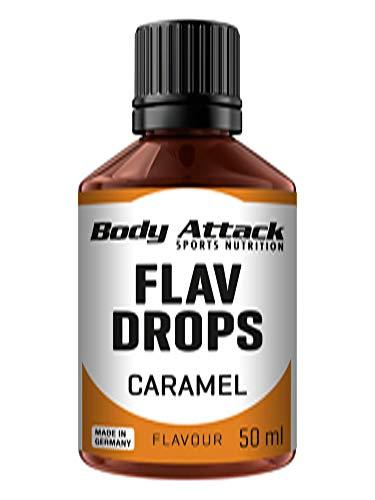 Body Attack Flav Drops®, 50 ml, Caramel, Aromatropfen für Lebensmittel, zuckerfreie Flavour Drops ohne Kalorien, vegan & Qualität Made in Germany