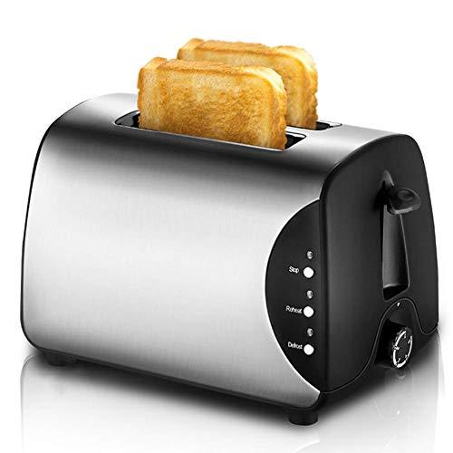 L.BAN 2 Scheiben Toaster Edelstahl/Auftauen/Aufheizen/Abbrechen, extra breite Schlitze, herausnehmbare Krümelschale, 750 W, Silber
