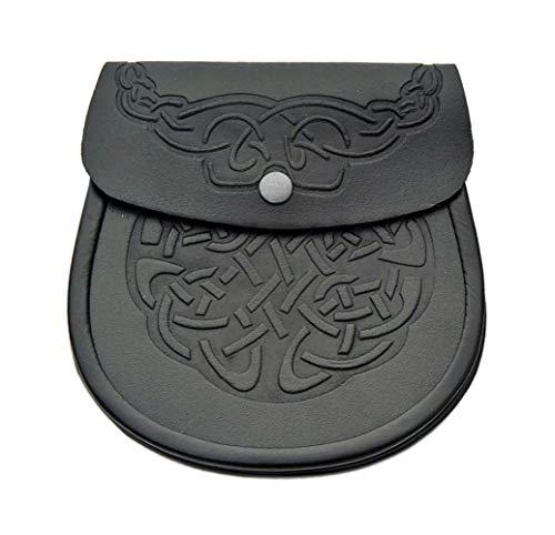 Scottish Kilt Sporran - Black Leather Celtic Kilt Pouch With Chain Belt - Classy Kilt Accessories - Elegant Leather Fanny Pack Waist Bag (Ghilli Dhu)