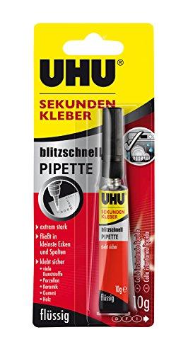 Uhu 48795 - blitzschneller Sekundenkleber - Pipette, 3 g