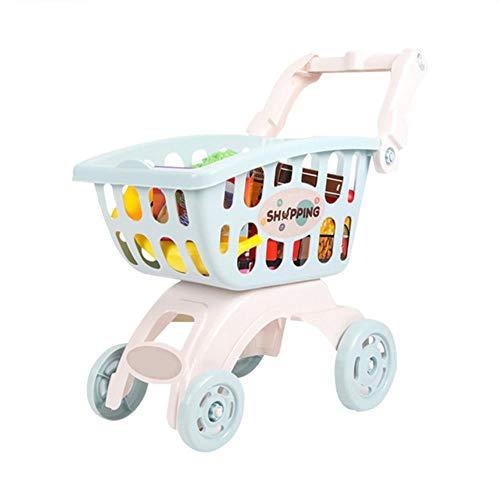 LEIXNDPLBO Baby Kids Mini Winkelwagen Speelgoed Supermarkt Vouwwagen Handkar Grappig Speelgoed Kinderen Speelgoed Opbergmand, Blauw