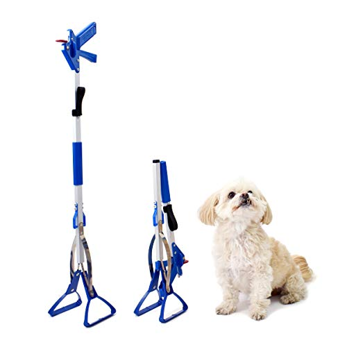 Doggie Walk Bags Dog Pooper Scooper for Large Dogs, Heavy Duty, Made in USA, Lightweight Metal Material, Folds in Half, Self Standing, Adjustable Strap, Blue Scented Tie Handle Dog Poop Bags Included
