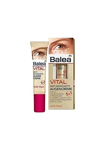 Balea VITAL Anti-Fatigue Eye-Cream 5in1 - Helps Reduces Lines, Wrinkles, Puffiness & Shadows (15ml) - For Mature Skin Ages 40 to 60+ (Not tested on Animals). by dm balea