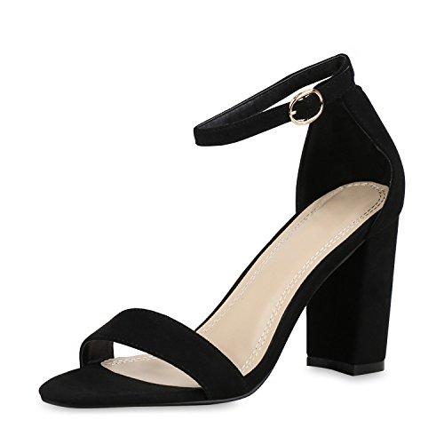 SCARPE VITA Damen Riemchensandaletten High Heels Sandaletten Basic Party Schuhe Wildleder-Optik Absatzschuhe 160806 Schwarz Schwarz 40