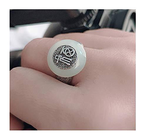 Anillo de Apertura de Piedras Preciosas de Plata 925 Anillo de índice de señora Red WADA Jade, Anillo de Compromiso de Matrimonio de Matrimonio Joyas
