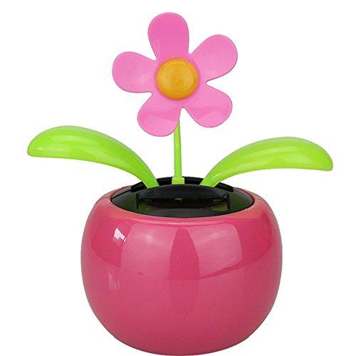 Dosige Solarblume Wackelblume Wackelfinger Wackelfigur Blume für Auto 13 * 5cm Rosa