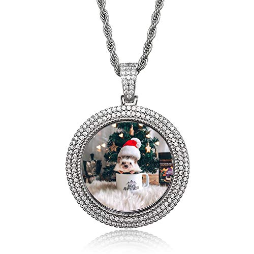 bishixiangenbaihuo Personalized Round Pendant Customized Photo Multi-Layer Full Diamond Necklace Photo Memory Photo Frame Pendant Christmas Thanksgiving Gift(Silver 24)