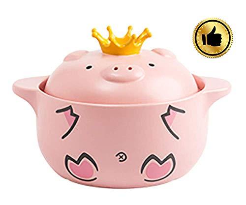 Beau et Pratique XLTCG Chef de Céramique de Classique Casserole antiadhésives avec Couvercle - Soupe au Poulet Pot ménages Casserole à Vapeur, Rose-1000ml (Color : Pink, Size : 600ml)