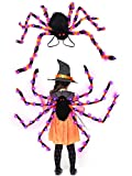 Camlinbo 64 LED Halloween Spider Backpack Costume-Colorful Spider Costume with Purple Lights,Red Eyes,Elastic Straps for Adult Younger Halloween Accessories Decoration Horror Plush Spider Costume(48')