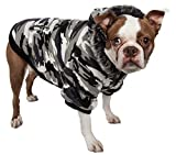 PET LIFE Classic Metallic Fashion Pet Dog Coat Jacket Parka w/ 3M Insulation and Removable Hood, Small, Deer Pattern