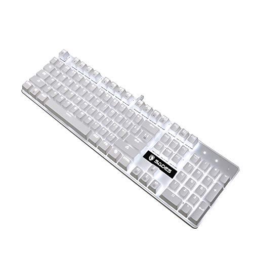 Mechanical Gaming Keyboard, SADES Blue Switches 104 Keys Mechanical Gaming Keyboard,Wired USB White LED Backlit Cute Computer Keyboard, White Mechanical Gaming Keyboard for PC/Mac/Laptop(White)