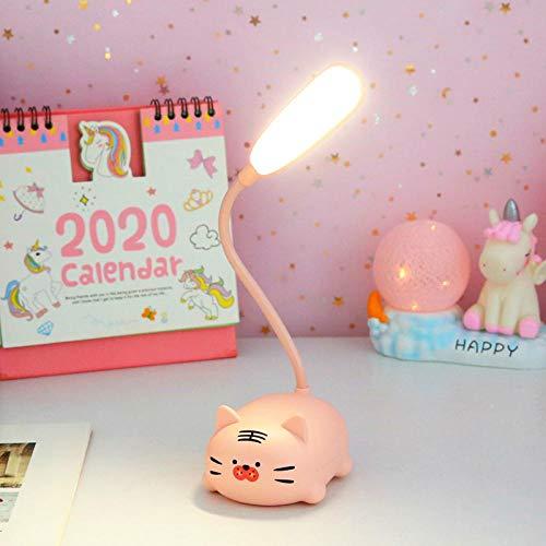 Kreative süße Mädchen Herz Tischlampe wiederaufladbare Studentenwohnheim Schlafzimmer Nacht Auge Nachtlicht-Pulver Tiger