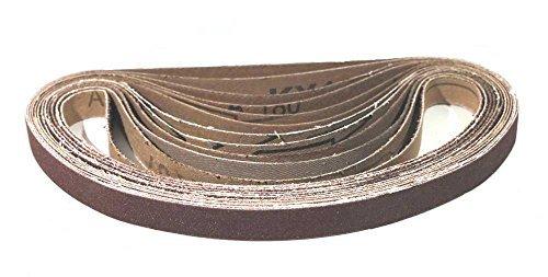 Slipande bälten med tygbaksida, 13 x 451 mm, 8 av var och en av de följande kornstorlekar: 40, 60, 80, 120, 180, 240; slipande remmar, slippapper, paket med 48