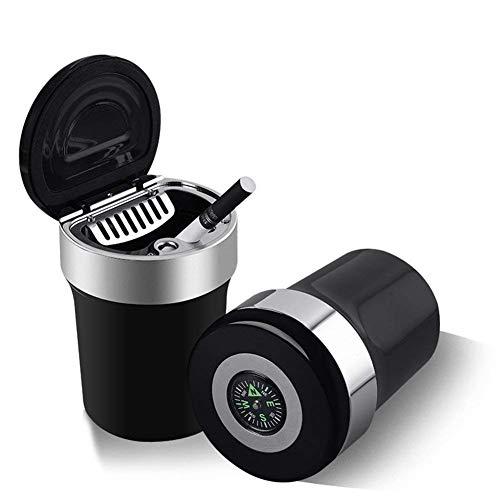 Auto-Aschenbecher, tragbarer Reise-Auto-Aschenbecher mit Deckel, blaues LED-Licht, rauchfreier Ständer, Zylinder, Aschenhalter, Kompass, tragbarer Auto-Zigarettenhalter, für Büro. Zuhause, Reisen