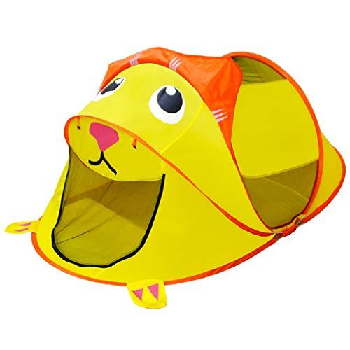 Tents Caricatur-Art Baby Candado, tienda ultraligera para niños, casa de juegos, tienda de campaña, casa, juguete para niños pequeños (color: amarillo, tamaño: 110 x 210 x 85 cm)