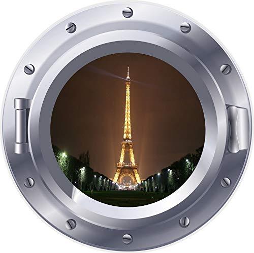 PANDABOOM Paris Eifell Tower 3D Bullauge Fenster Wandaufkleber Aufkleber Selbstklebende PVC Wasserdichte Aufkleber Wandbild Für Kinderzimmer Dekoration 50X50Cm
