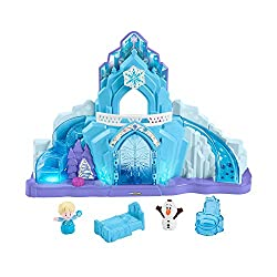 """Palace playset with lights, sounds, and the hit Disney Frozen song, """"Let It Go"""" Bottom Discovery Button """"magically"""" reveals the staircase with lights & sounds Top Discovery Button """"grows"""" the castle with lights, sounds & spinning snowflake Top Di..."""