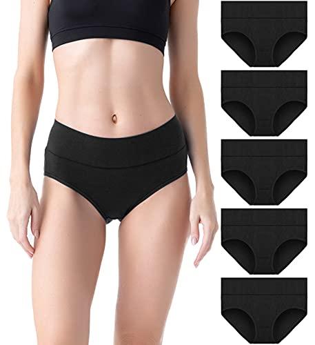 QINCAO Unterhosen Damen Unterwäsche Stretch Baumwolle Slips Weich Pantys Hohe Taillen Slip 5er Pack