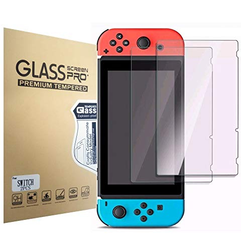 [2 Pack] Nintendo Switch Screen Protector Tempered Glass, POKANIC Transparent HD Clear Anti-Scratch Screen Protector, Bubble Free, Dock-able, Easy Installation, Film, Compatible with Nintendo Switch