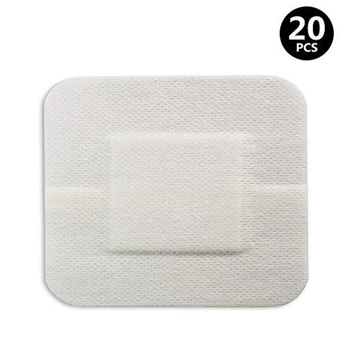 TONGXU 20PCS Apósitos de Gasa con Borde 6x7cm Vendaje para Heridas con Bordes Adhesivos y Transpirables Estéril Altamente Absorbente Pasta de Apósito no Tejida Autoadhesiva Transpirable