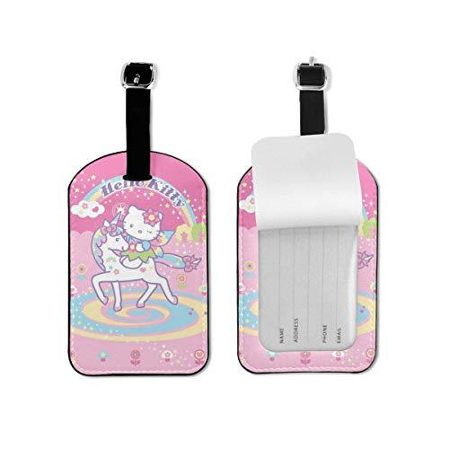 Hello Kitty - Etiquetas de equipaje con correa ajustable para equipaje de piel para equipaje o maletas, juego de etiquetas de identificación para viajes