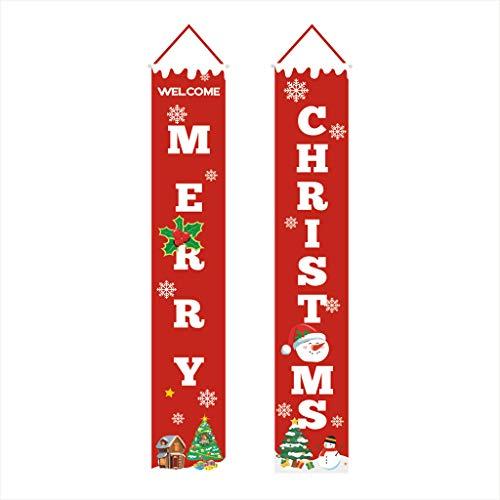 ZIRAN 2 Piezas Merry Bright Porch Sign Banner Puerta para el hogar Navidad Navidad Cortina Banner