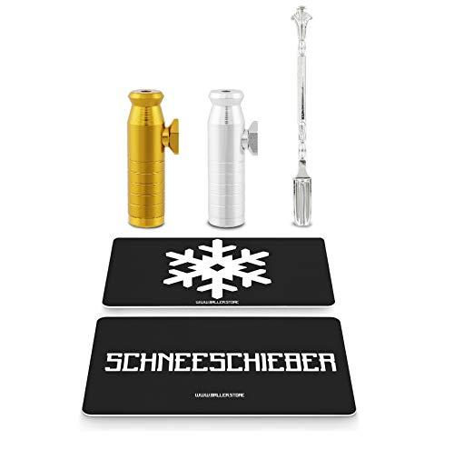 BALLER.STORE 2X Premium Dosierer (Schwarz & Chrom) für Schnupftabak inkl. 2X -Karte und edlem Löffel   Metall Portionierer   Snuff   Schneekristall-Karte   Dispenser