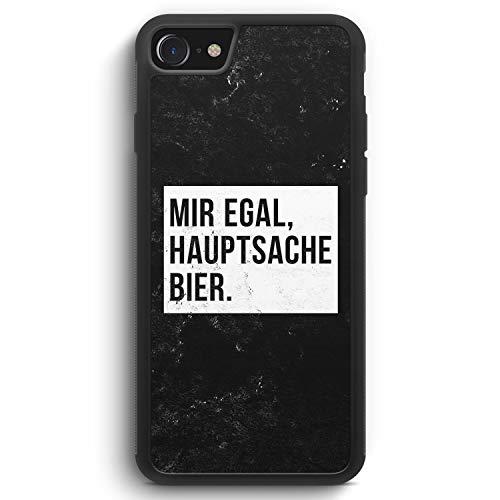 Mir Egal Hauptsache Bier - Silikon Hülle für iPhone 7 - Motiv Design Cool Witzig Lustig Spruch Zitat Grunge - Cover Handyhülle Schutzhülle Case Schale