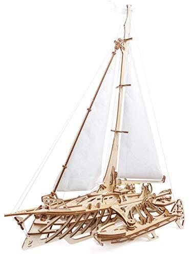 UGEARS 3D Puzzle Trimaran Merihobus Schiff Segelboot Holzpuzzle Modellbau Set Denkspiel - DIY Puzzle Lernspielzeug - Umweltfreundlicher Holz Modellbausatz - Für Erwachsene & Kinder
