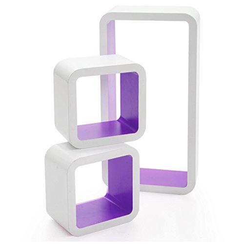 casa pura® Design Wandregal Oxford | Set aus 3 Würfeln | Hochglanz | freischwebend (versteckte Halterung) | gesundheitsfreundliche Materialien | 4 Farben (weiß/lila)