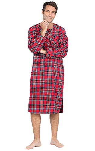 PajamaGram Mens Sleep Shirt Flannel - Mens Nightshirt, Stewart Plaid, X-Large Red