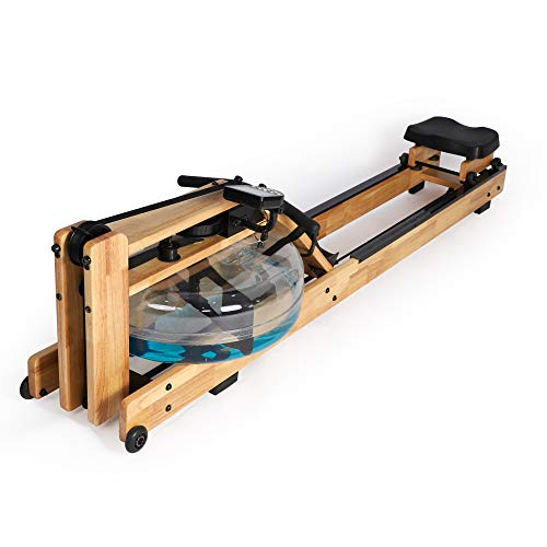 Koreyosh Water Rowing Machine Indoor Water Rower Adjustable Resistance with LCD Monitor Home Gym Equipment for Whole Body Exercise Cardio Training,Oak Wood