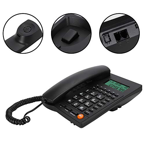 Vaste telefoon Nummerherkenning Telefoon Met achtergrondverlichting Home Office Hotel Restaurant Zwart eenvoudig te installeren handsfree bellen