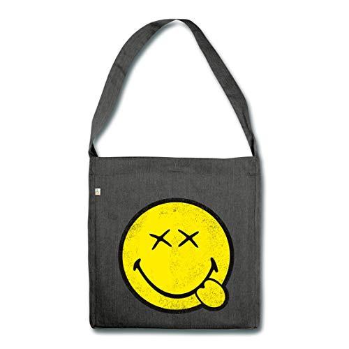Spreadshirt Smiley World Klassischer Smiley Used Look Schultertasche aus Recycling-Material, Schwarz meliert