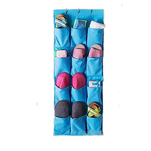 Addfun® Schuhregal, 12 Taschen Über Tür hängen Schuh Storage Rack Bag mit Garderobenhaken, alle Arten von kleinen Objekte Beutel Blau