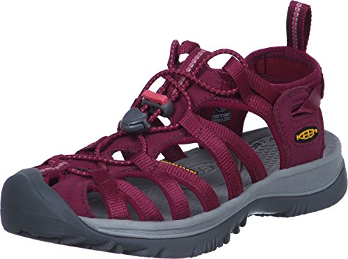 KEEN Women's Whisper Closed Toe Sport Sandal, Beet Red/Honeysuckle, 5.5