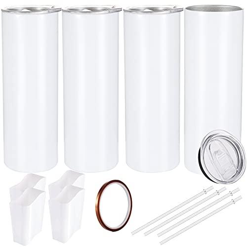 Sublimation Blanks - Vaso delgado de 30 onzas, color blanco recto para transferencia de calor, doble pared, aislado de acero inoxidable, con cinta resistente al calor y funda de envoltura retráctil, paquete de 4 unidades