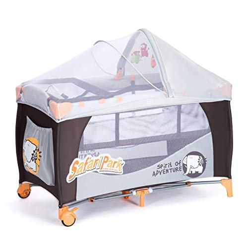 LXJ Baby crib, portable foldable shaker with mosquito net and Scroll wheel, multifunctional mobile play bed, suitable for babies/newborns, gray