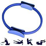 ShineBlue - Anillo de doble asa para pilates, ejercicio, círculo para quemar grasa, círculo de yoga profesional, anillo de pilates ligero para tonificar abdominales, muslos y piernas, azul