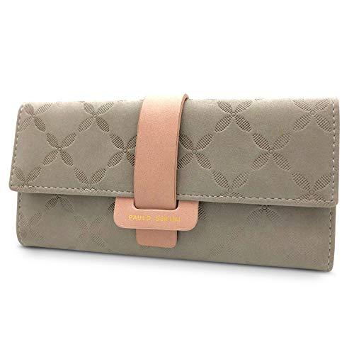 PAULO SERINI® Geldbeutel Damen Leder | Portemonnaie Frauen 9 Kartenfächer | grau