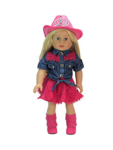 American Fashion World Hot Pink Cowgirl 4 Piece Outfit Made to fit 18 inch Dolls Such as American Girl Dolls