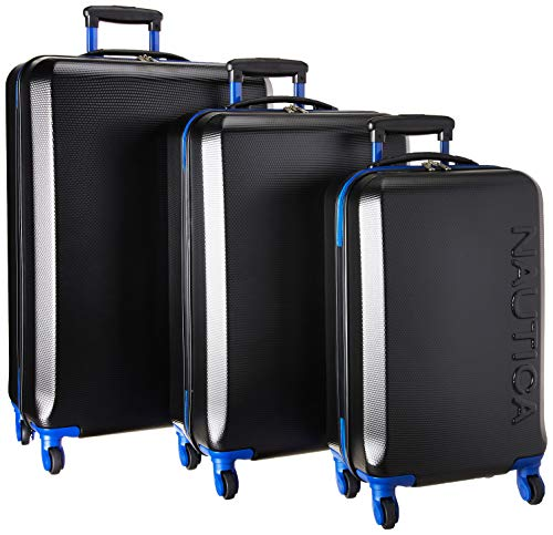 Nautica 3 Piece Hardside 4-Wheeled Luggage Set, Black Cobalt