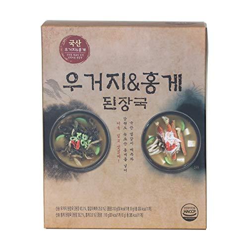 韓国のインスタントキャベツと赤いカニ 味噌汁 22パック(キャベツx11 + 赤いカニx11)、1人前のパッキング、お湯を注ぐだけ