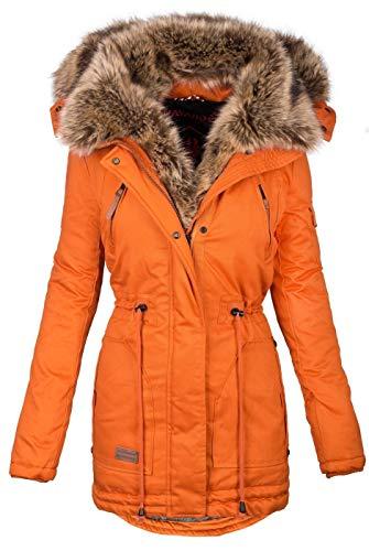 Navahoo warme Damen Winter Jacke Parka lang Mantel Winterjacke Fell Kragen B380 [B380-Daria-Orange2-Gr.XS]