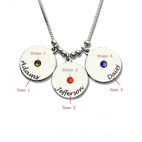XQAQW Niña 925 Sterling Silver Disco de la Madre y Birthstone Charm Collares Colgantes de Plata esterlina -40Cm_and_5Cm_3_Names_3_Stones