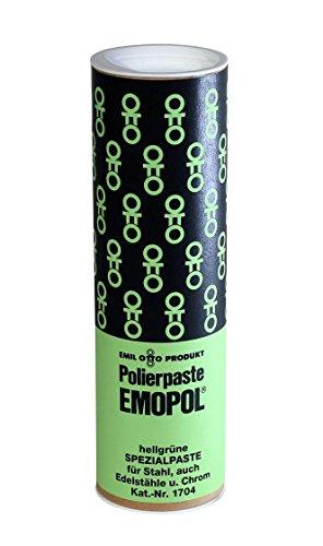 Polierpaste - EMOPOL Spezialpaste Hellgrün, 300 g, für Oberflächenbehandlung von Stählen aller Art insbesondere auch rostfreier Edelstähle und Chrom