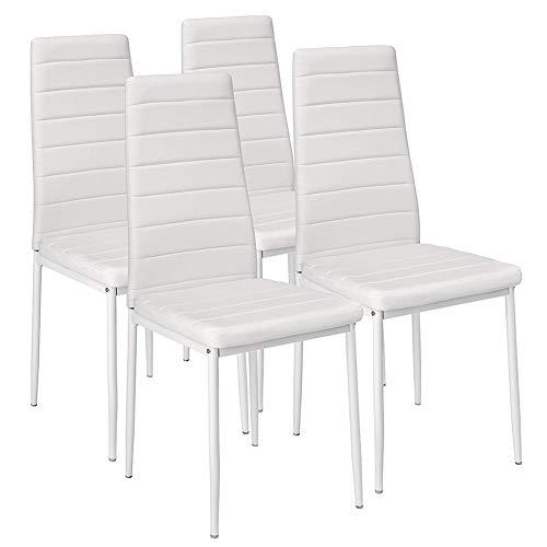 Bakaji set van 4 stoelen, gevoerd, van kunstleer, wit, 98 x 41 x 45 cm, metaal, eenheidsmaat